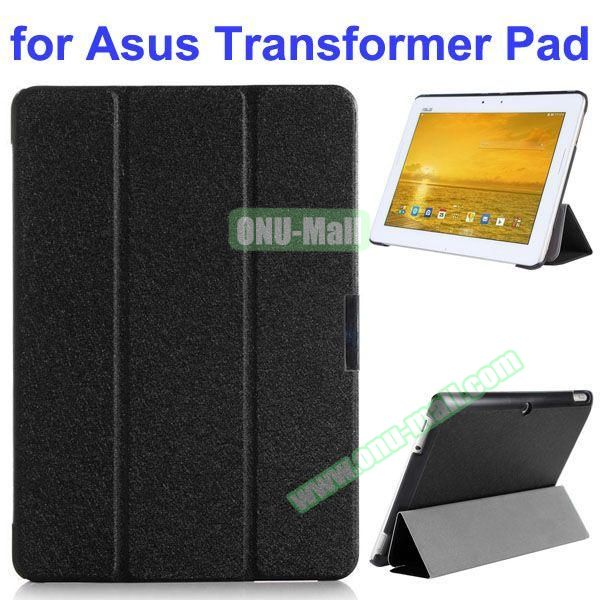 Silk Texture 3 Folding Pattern Stand Leather Case for Asus Transformer Pad TF303CL (Black)