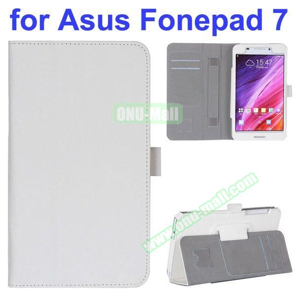 Flip Leather Case for Asus Fonepad 7 FE7530CXG FE375CG with Card Slots and Hand Strap (White)
