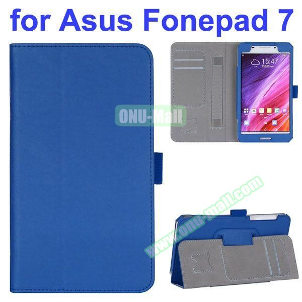 Flip Leather Case for Asus Fonepad 7 FE7530CXG FE375CG with Card Slots and Hand Strap (Blue)