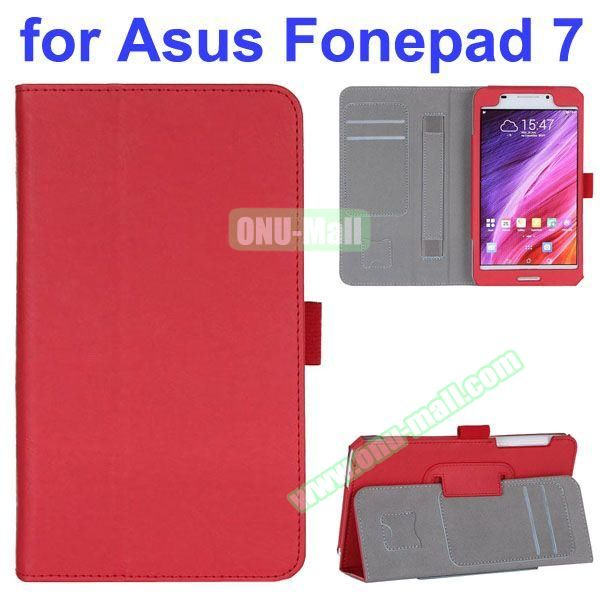 Flip Leather Case for Asus Fonepad 7 FE7530CXG FE375CG with Card Slots and Hand Strap (Red)
