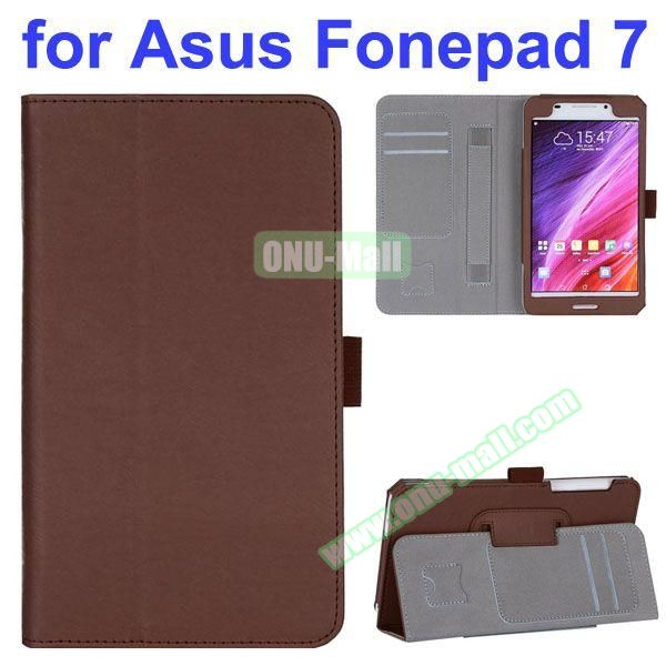 Flip Leather Case for Asus Fonepad 7 FE7530CXG FE375CG with Card Slots and Hand Strap (Brown)