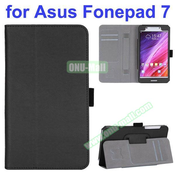 Flip Leather Case for Asus Fonepad 7 FE7530CXG FE375CG with Card Slots and Hand Strap (Black)