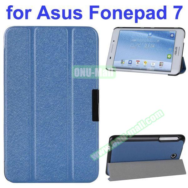 Ultra Thin 3 Folding Pattern Flip Stand Leather Case for Asus Fonepad 7 FE7530CXG (Blue)