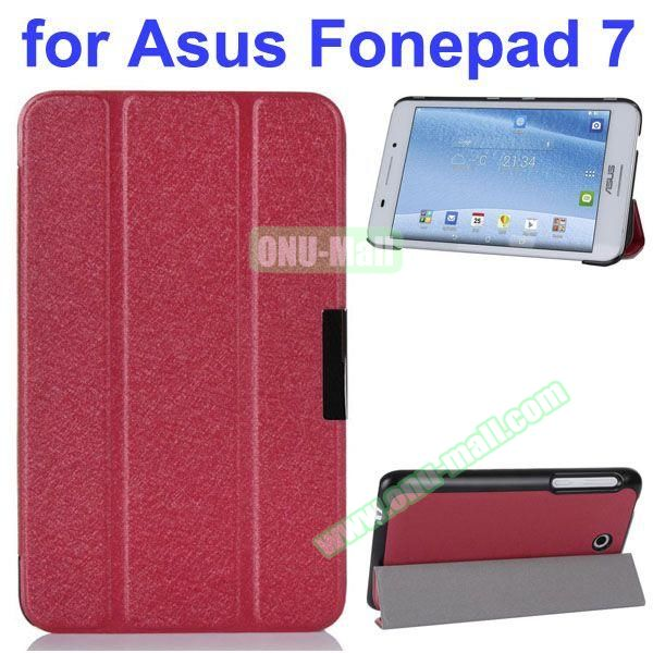Ultra Thin 3 Folding Pattern Flip Stand Leather Case for Asus Fonepad 7 FE7530CXG (Red)