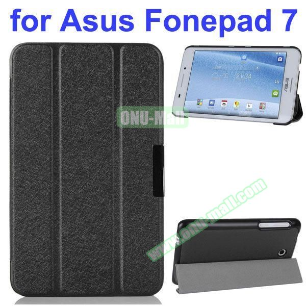 Ultra Thin 3 Folding Pattern Flip Stand Leather Case for Asus Fonepad 7 FE7530CXG (Black)