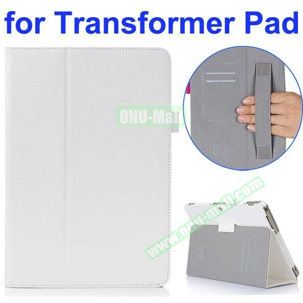 Smooth Texture 2-Folding Style PU Leather Case for Asus Transformer Pad TF303CL with Card Slots and Armband (White)