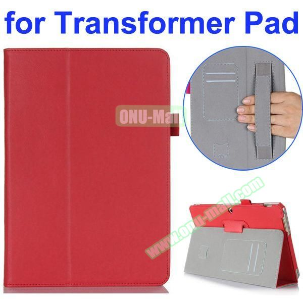 Smooth Texture 2-Folding Style PU Leather Case for Asus Transformer Pad TF303CL with Card Slots and Armband (Red)
