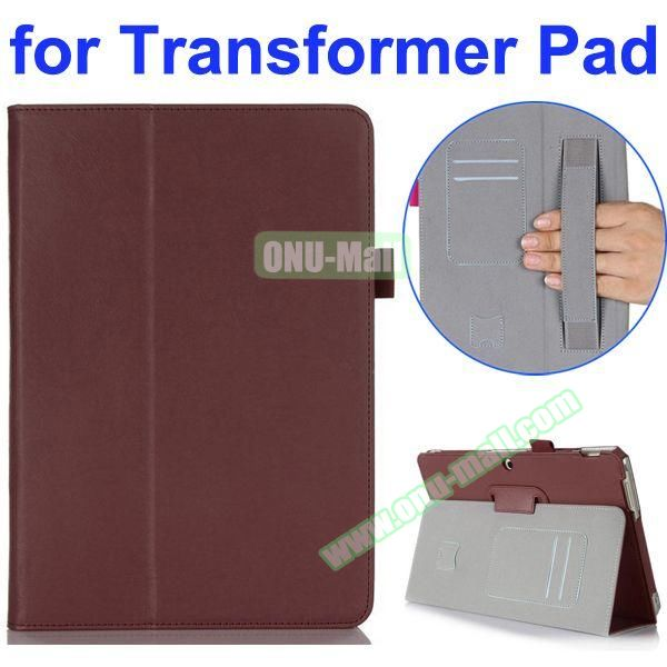 Smooth Texture 2-Folding Style PU Leather Case for Asus Transformer Pad TF303CL with Card Slots and Armband (Brown)