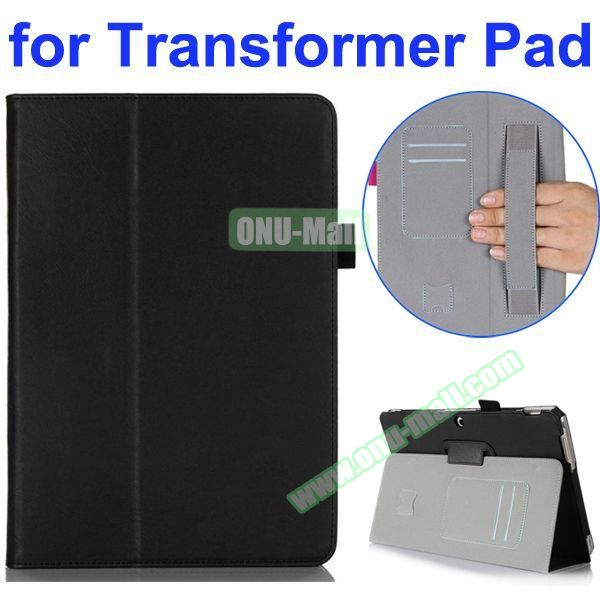 Smooth Texture 2-Folding Style PU Leather Case for Asus Transformer Pad TF303CL with Card Slots and Armband (Black)