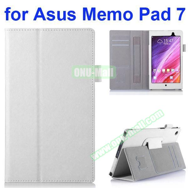 Flip Leather Case for Asus MeMO Pad 7 ME572CL ME572C with Card Slots and Holder (White)