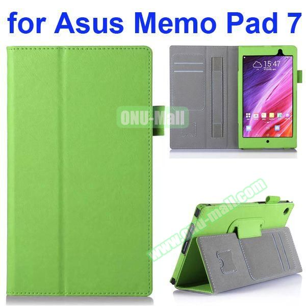 Flip Leather Case for Asus MeMO Pad 7 ME572CL ME572C with Card Slots and Holder (Green)