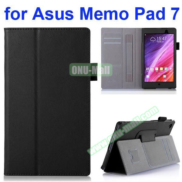 Flip Leather Case for Asus MeMO Pad 7 ME572CL ME572C with Card Slots and Holder (Black)