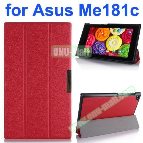 Silk Texture PU Leather Case for Asus MeMo Pad 8 ME181C (Red)