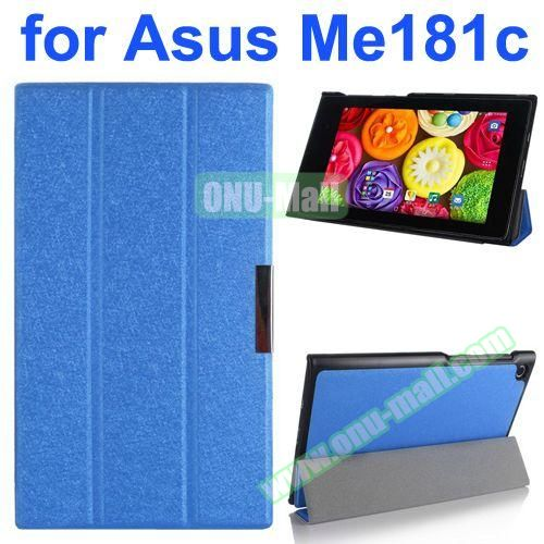 Silk Texture PU Leather Case for Asus MeMo Pad 8 ME181C (Blue)