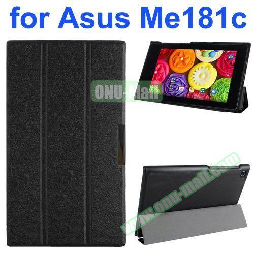 Silk Texture PU Leather Case for Asus MeMo Pad 8 ME181C (Black)