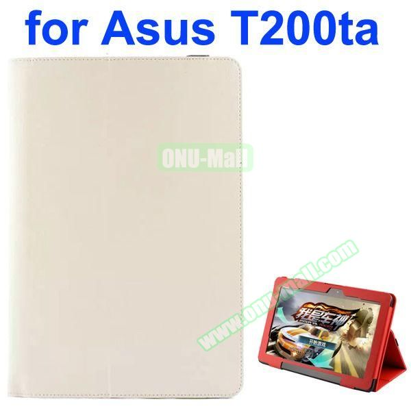 Litchi Pattern 2-Folding PU Leather Case for Asus Transformer Book T200TA (White)