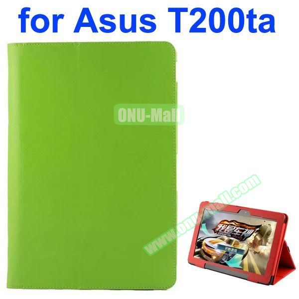 Litchi Pattern 2-Folding PU Leather Case for Asus Transformer Book T200TA (Green)