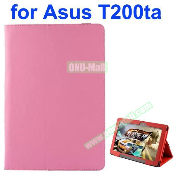 Litchi Pattern 2-Folding PU Leather Case for Asus Transformer Book T200TA (Pink)