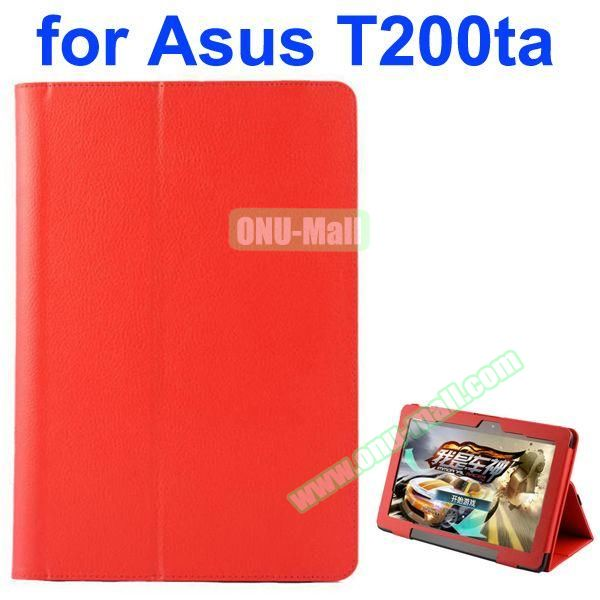 Litchi Pattern 2-Folding PU Leather Case for Asus Transformer Book T200TA (Red)