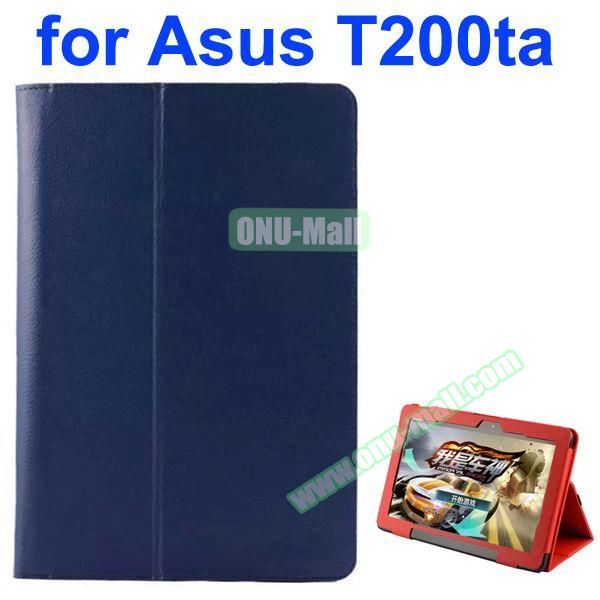 Litchi Pattern 2-Folding PU Leather Case for Asus Transformer Book T200TA (Blue)