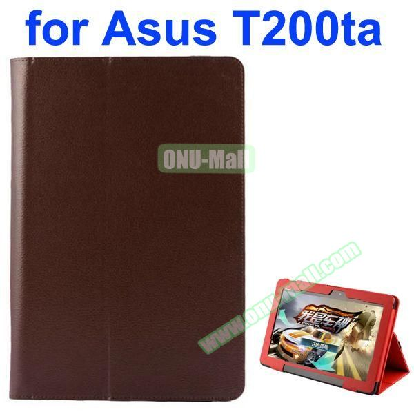 Litchi Pattern 2-Folding PU Leather Case for Asus Transformer Book T200TA (Brown)