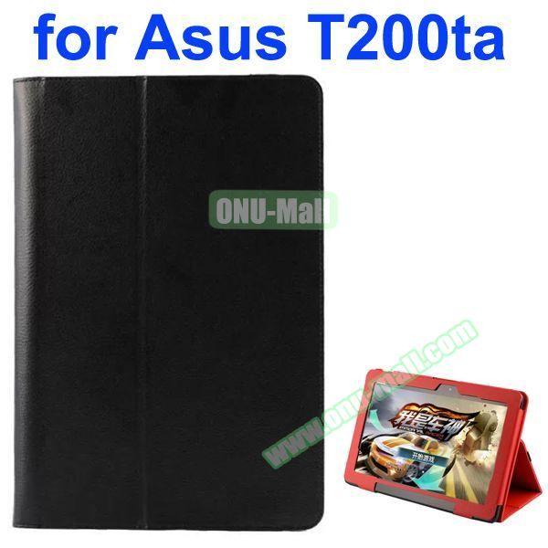 Litchi Pattern 2-Folding PU Leather Case for Asus Transformer Book T200TA (Black)