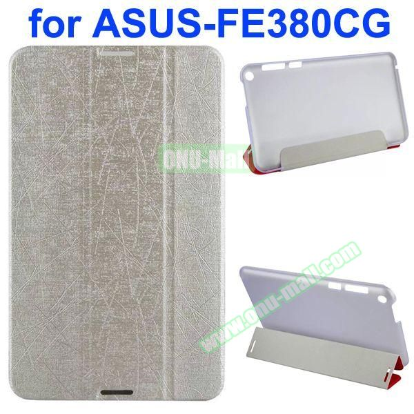 Palm Texture 3-Folding PU Leather Case for Asus Fonepad 8 FE380CG (White)
