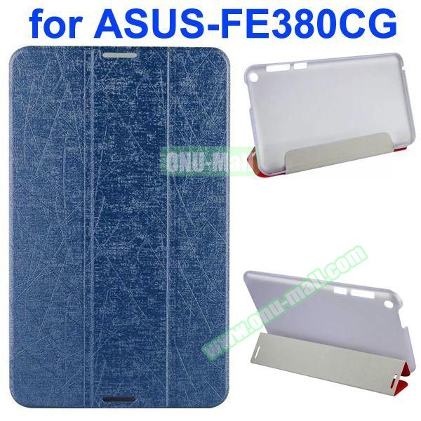 Palm Texture 3-Folding PU Leather Case for Asus Fonepad 8 FE380CG (Dark Blue)