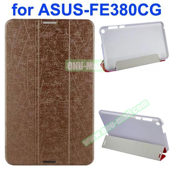 Palm Texture 3-Folding PU Leather Case for Asus Fonepad 8 FE380CG (Brown)