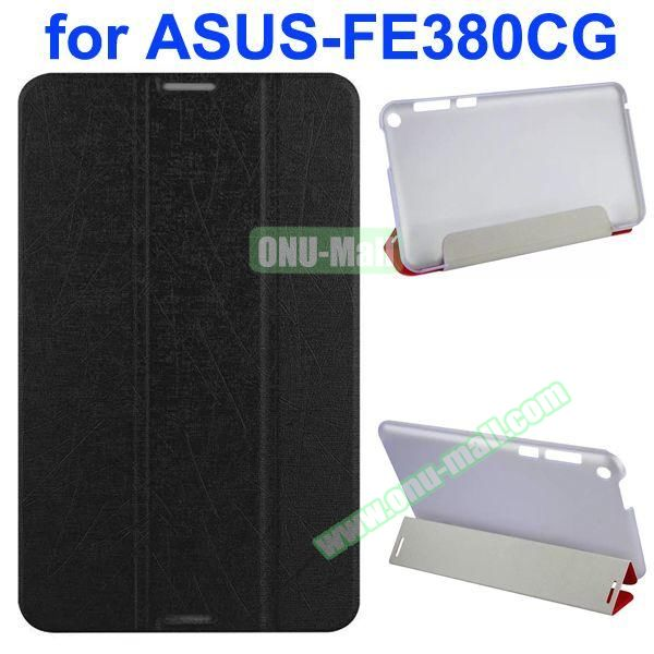 Palm Texture 3-Folding PU Leather Case for Asus Fonepad 8 FE380CG (Black)