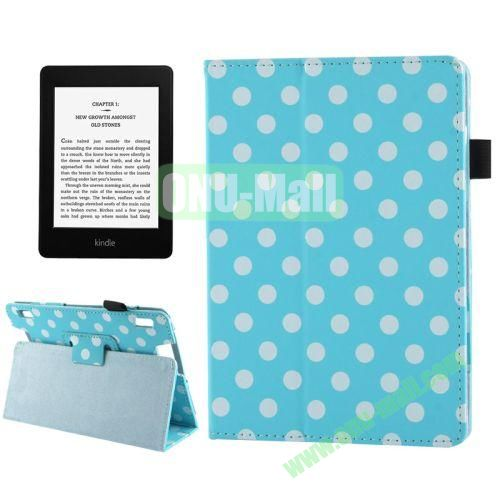 Blue and White Dot Pattern Leather Case for Amazon Kindle Fire HDX 7 with Holder (Light Blue)