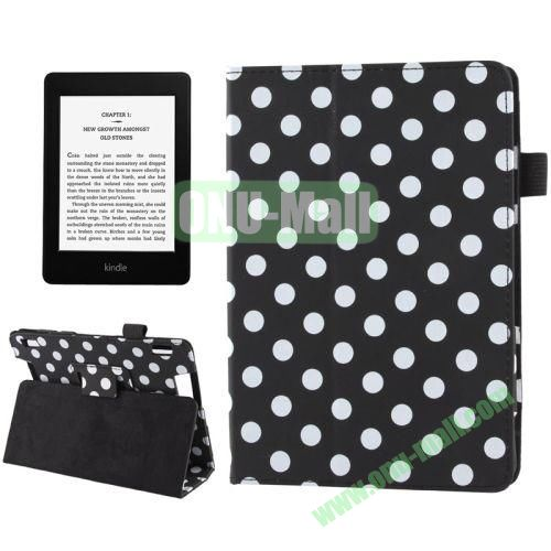 Blue and White Dot Pattern Leather Case for Amazon Kindle Fire HDX 7 with Holder (Black)