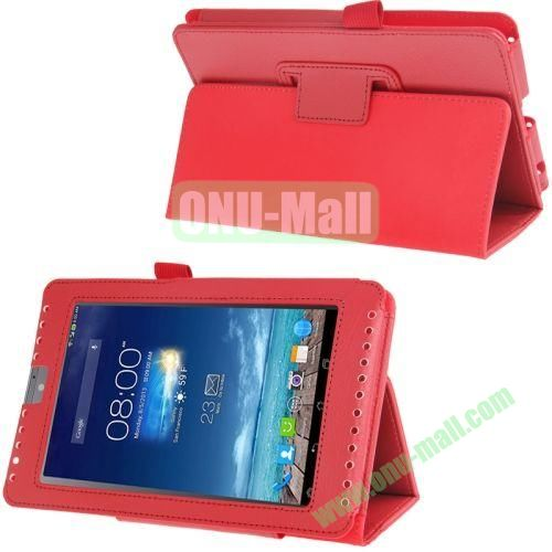 Litchi Texture Flip Leather Case for Asus Fonepad 7ME372CG with Holder (Red)