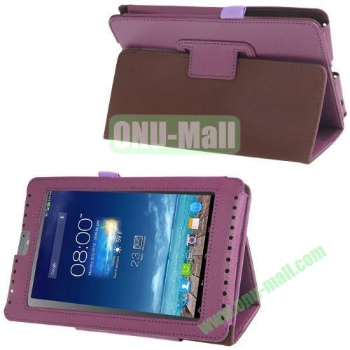 Litchi Texture Flip Leather Case for Asus Fonepad 7ME372CG with Holder (Purple)