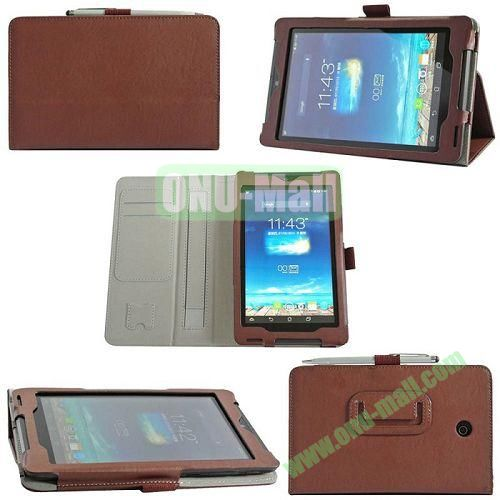 High Quality Leather Case for Asus Fonepad 7ME372CG with Card Slots and Armband Holder (Brown)