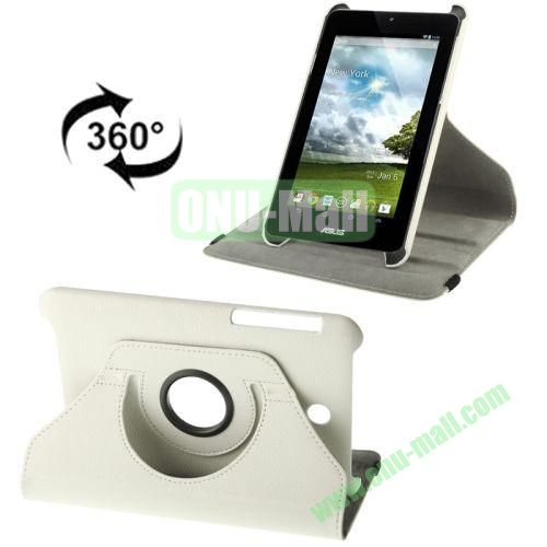 360 Degree Rotation Leather Case for ASUS MeMO Pad HD 7ME173X with Holder (White)