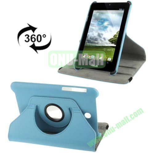 360 Degree Rotation Leather Case for ASUS MeMO Pad HD 7ME173X with Holder (Blue)
