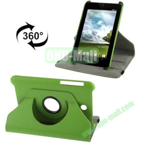 360 Degree Rotation Leather Case for ASUS MeMO Pad HD 7ME173X with Holder (Green)