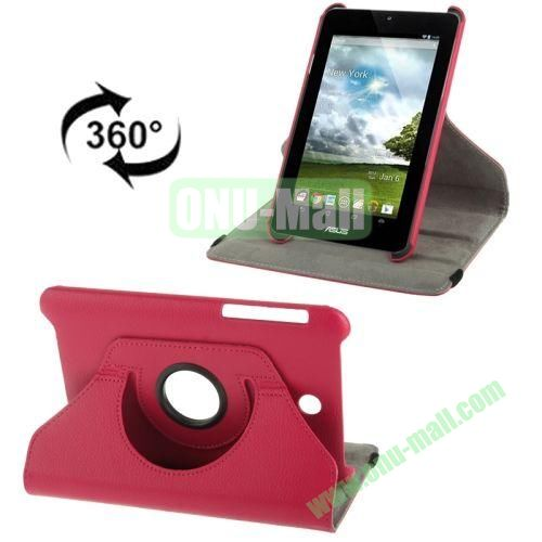 360 Degree Rotation Leather Case for ASUS MeMO Pad HD 7ME173X with Holder (Rose)