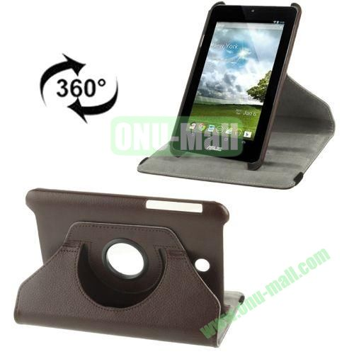 360 Degree Rotation Leather Case for ASUS MeMO Pad HD 7ME173X with Holder (Brown)
