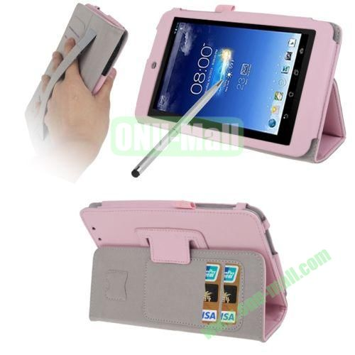 Wrinkly Texture Leather Case for ASUS MeMO Pad HD 7ME173X with Holder & Credit Card Slots & Elastic Hand Strap & Touch Pen (Pink)