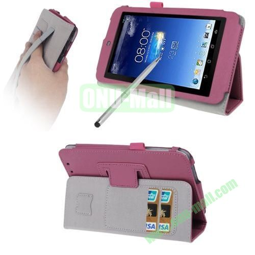 Wrinkly Texture Leather Case for ASUS MeMO Pad HD 7ME173X with Holder & Credit Card Slots & Elastic Hand Strap & Touch Pen (Rose)