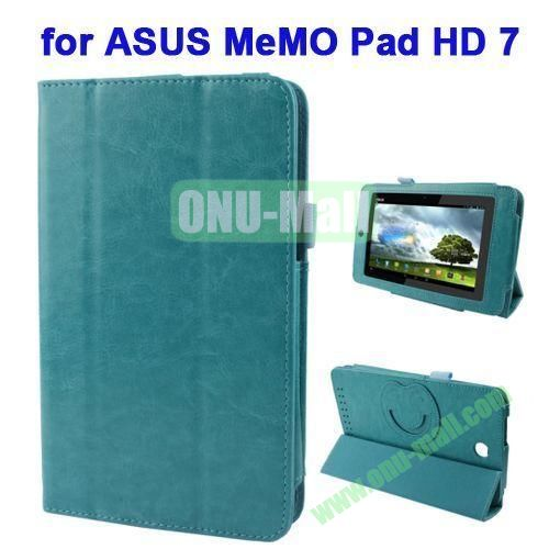 3 folding Crazy Horse Texture Leather Case for ASUS MeMO Pad HD 7 ME173X with Smiling Face Cartoon Holder (Light Blue)