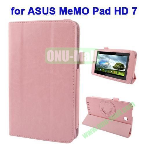 3 folding Crazy Horse Texture Leather Case for ASUS MeMO Pad HD 7 ME173X with Smiling Face Cartoon Holder (Pink)
