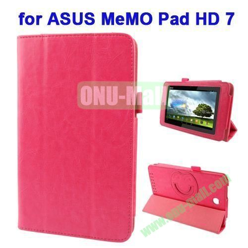 3 folding Crazy Horse Texture Leather Case for ASUS MeMO Pad HD 7 ME173X with Smiling Face Cartoon Holder (Rose)