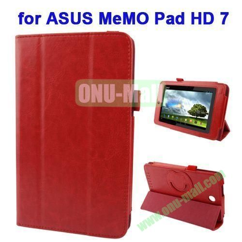 3 folding Crazy Horse Texture Leather Case for ASUS MeMO Pad HD 7 ME173X with Smiling Face Cartoon Holder (Red)