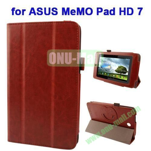 3 folding Crazy Horse Texture Leather Case for ASUS MeMO Pad HD 7 ME173X with Smiling Face Cartoon Holder (Brown)
