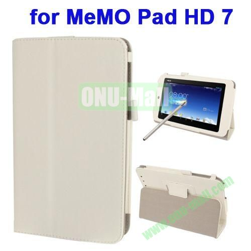 Wrinkly Texture Leather Case for ASUS MeMO Pad HD 7 ME173X with Holder & Touch Pen (White)
