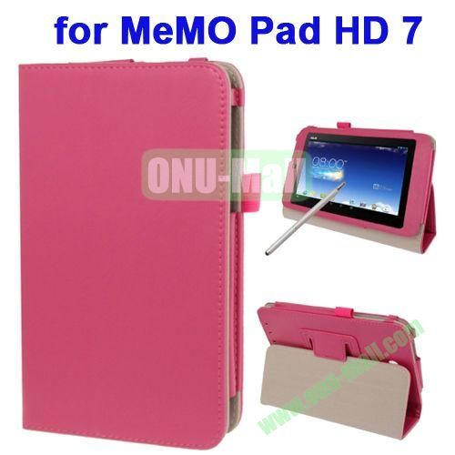 Wrinkly Texture Leather Case for ASUS MeMO Pad HD 7 ME173X with Holder & Touch Pen (Rose)