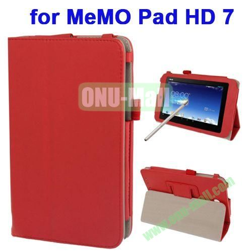 Wrinkly Texture Leather Case for ASUS MeMO Pad HD 7 ME173X with Holder & Touch Pen (Red)